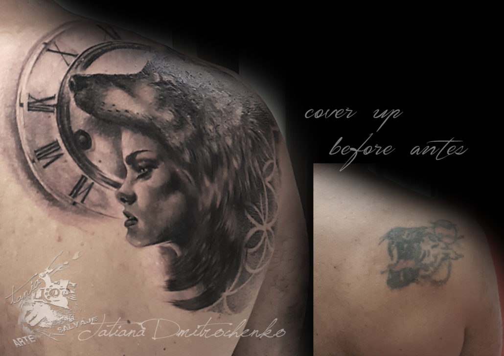 tattoo woman wolfdress cover up coverup valencia tatuaje realista mujer loba