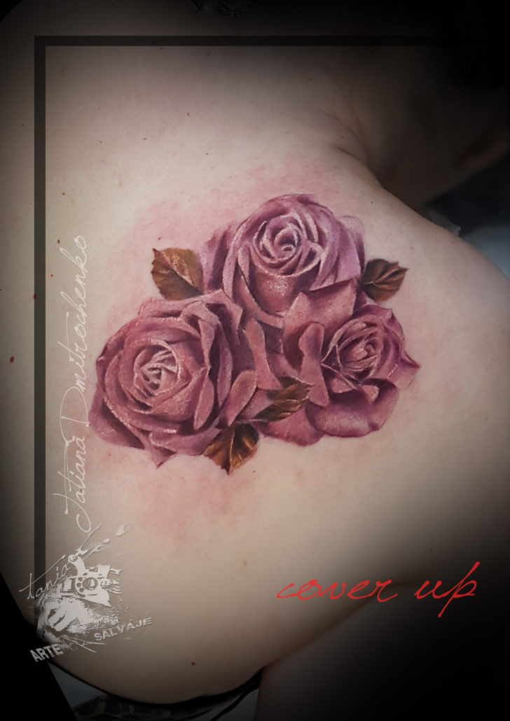 tattoo tatuaje cover up sin laserflowers roses rosas valencia
