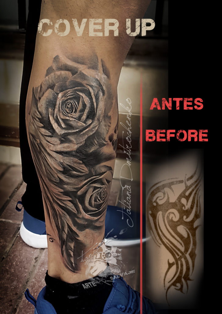 tattoo tatuaje cover up coverup tatuajes realistas valencia blanco y negro rosas