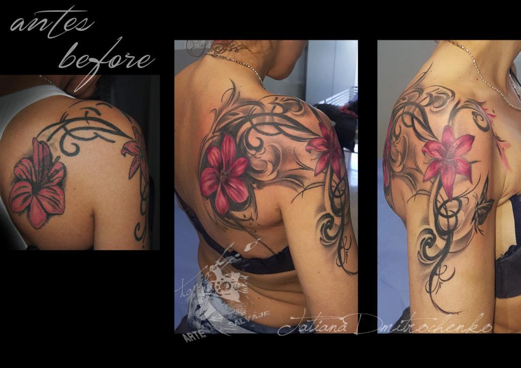 tattoo cover up flores tribal fantasia tatuajes en valencia