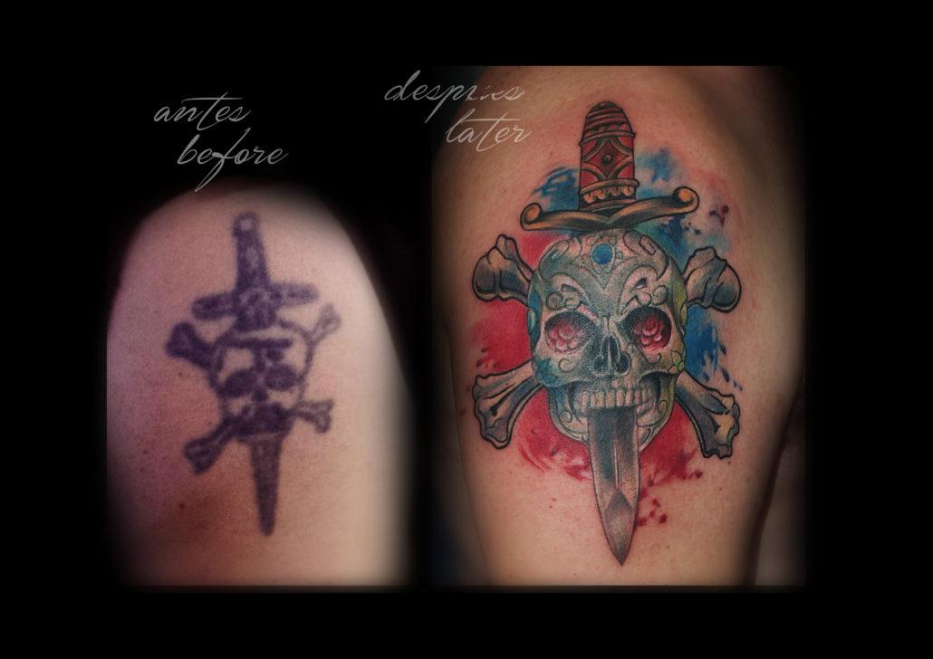 tattoo cover up calavera a color tatuajes en valencia