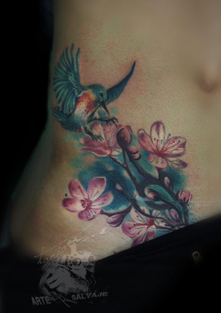 tattoo colibri flor cover up a color tatuajes en valencia