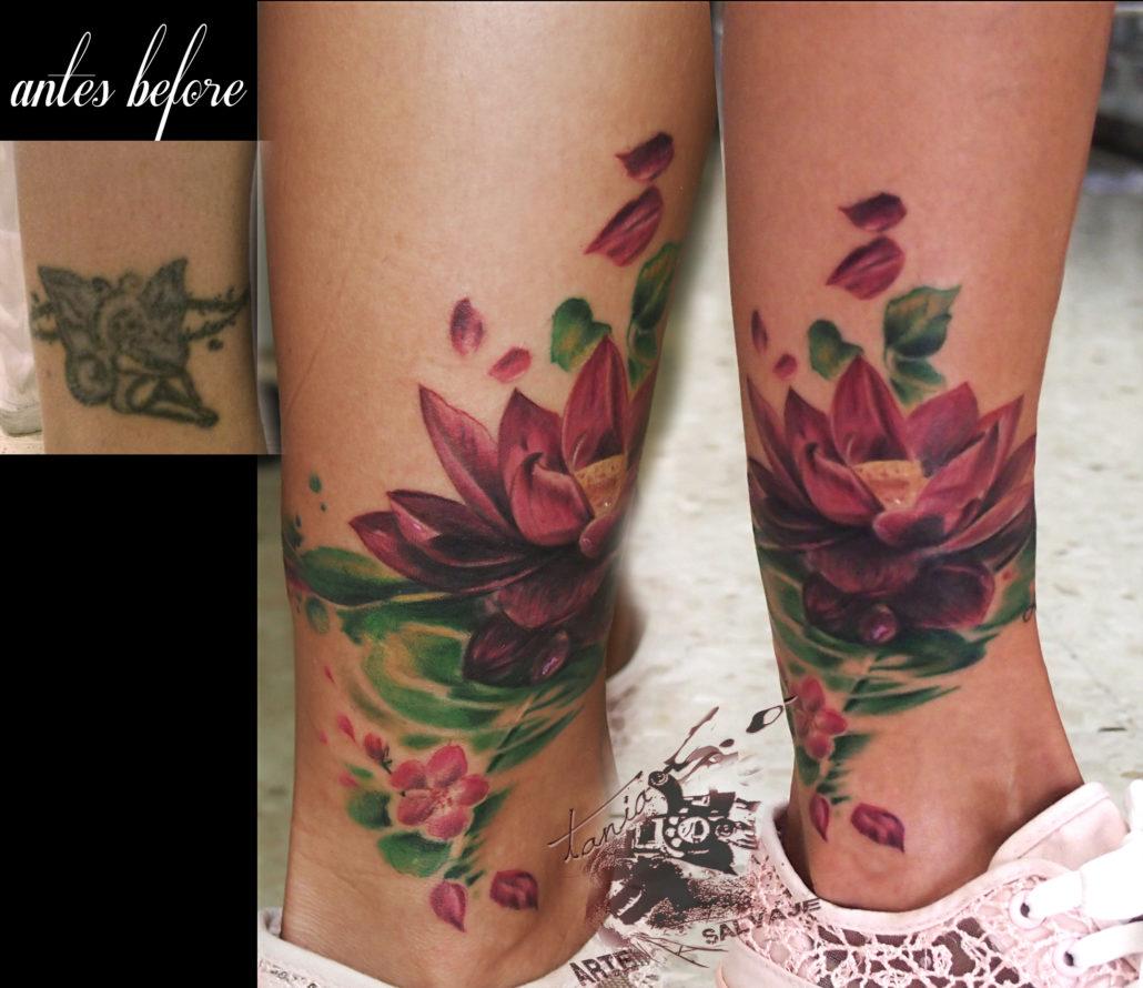tattoo loto cover up tauajes de flores en valencia