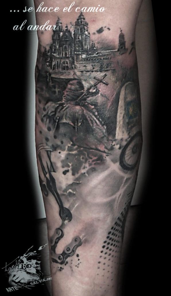 tattoo cover up tatuaje camino de santiago valencia