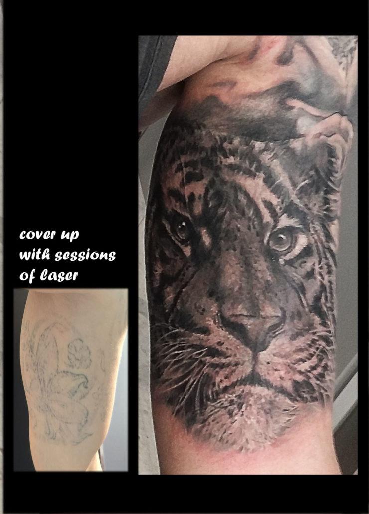 tattoo tatuaje cover con laser valencia realista tigre