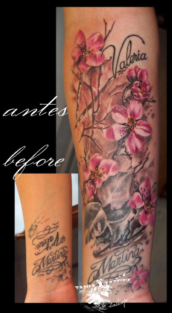 tattoo tatuaje cover up con flores valencia