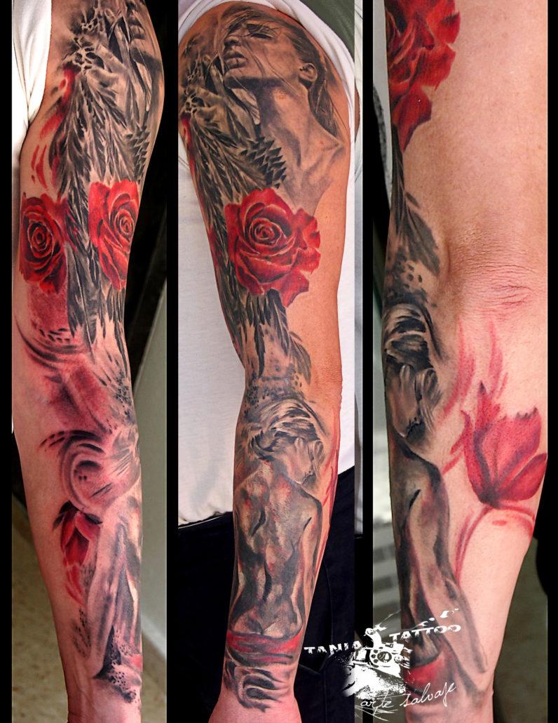tattoo cover up mujer brazo tatuaje chicas con flores valencia con rosa