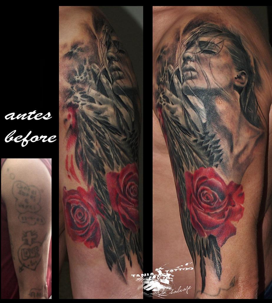 tattoo cover up mujer brazo tatuaje valencia con rosa