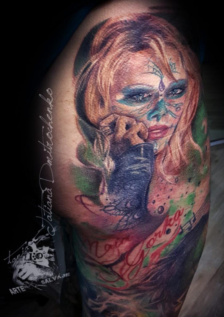 tatuajes de catrinas realismo a color
