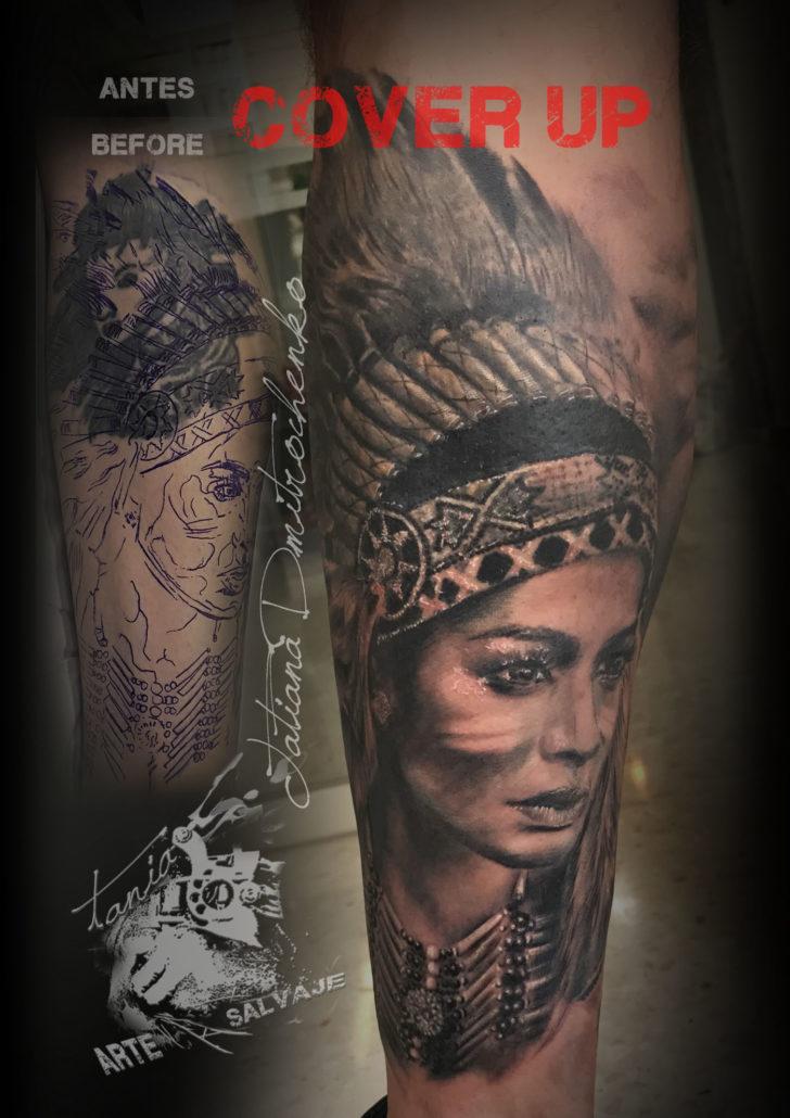 tatuaje retrato de mujer india cover up valencia