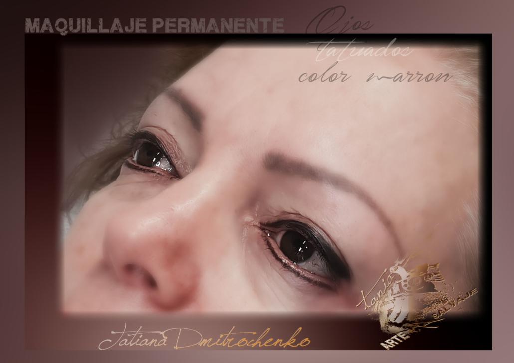 micropigmentacion ojos eyeliner tatuados raya ariba abajo valencia marron