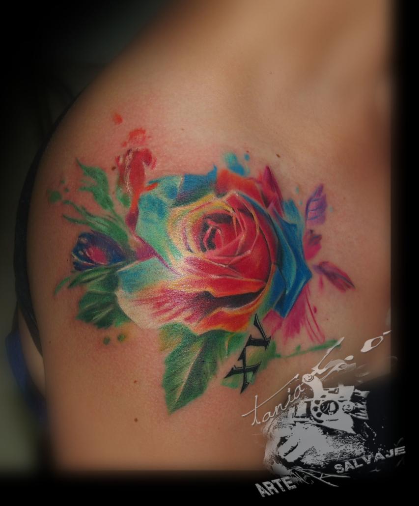 tatuajes a color acuarela rosas fantasia water colour valencia