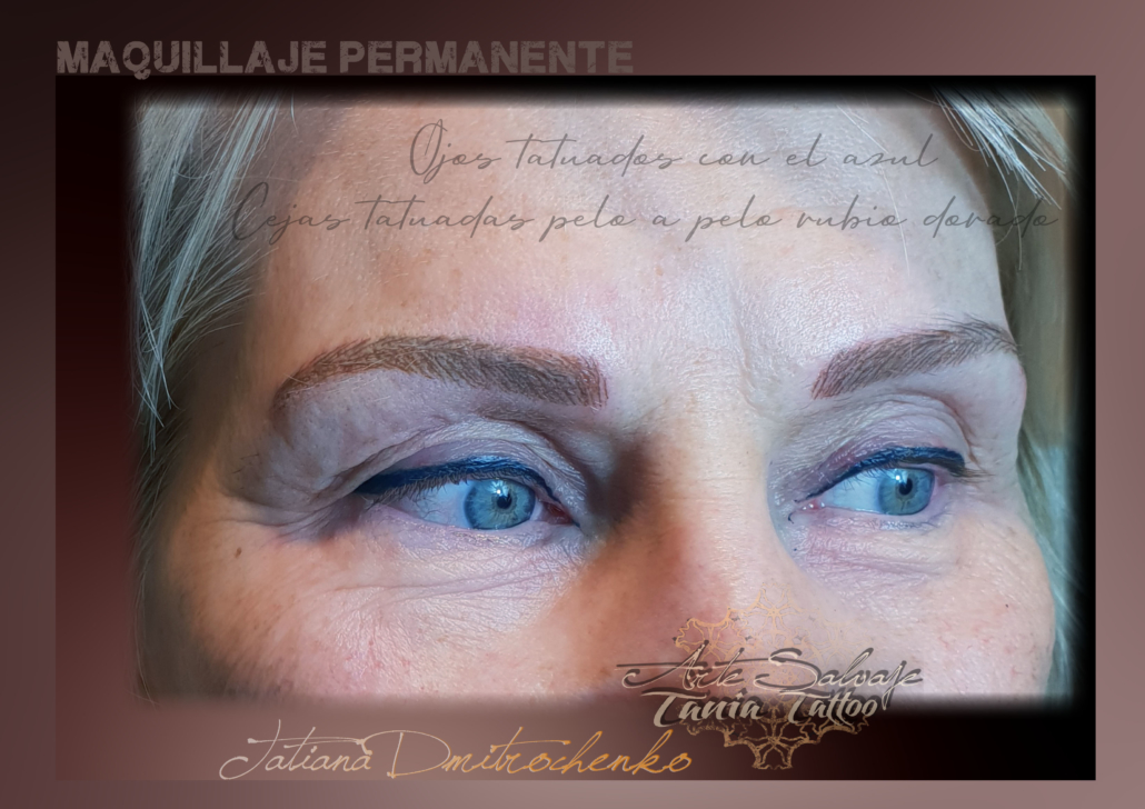 micropigmentacion ojos eyeliner color azul y cejas rubias pelo a pelo valencia