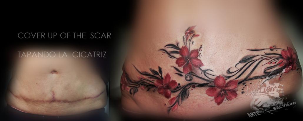 tatuajes femeninos de flores cover up de cicatrices y estrias en el abdomen valencia (2)