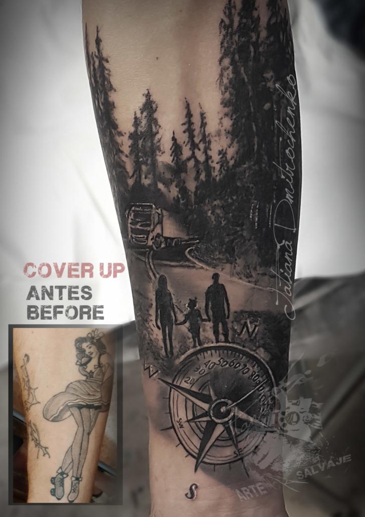 tatuaje cover up carrettera chofer bosque camion familia brujula valencia
