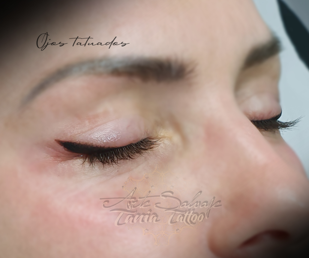 micropigmentacion de ojos eyeliner con difuminado marron oscuro en valencia elena 2