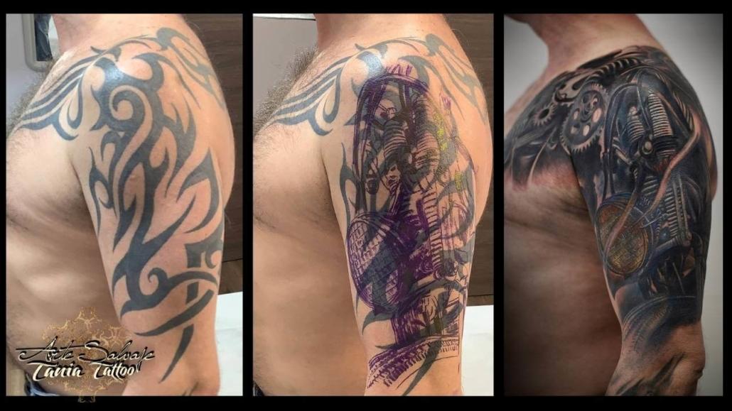 Cover Up tatuaje Trival Brazo Hombre